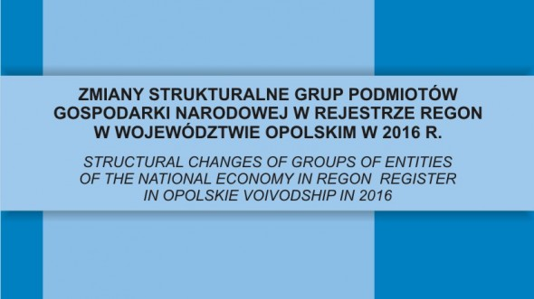 Structural changes of groups of entities of the national economy in REGON register in opolskie voivodship in 2016